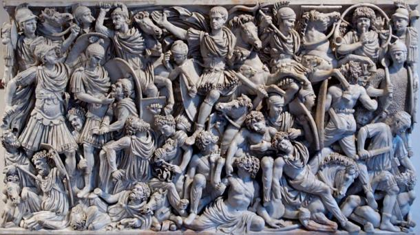 The 3rd-century Great Ludovisi sarcophagus depicts a battle between Goths and Romans.
