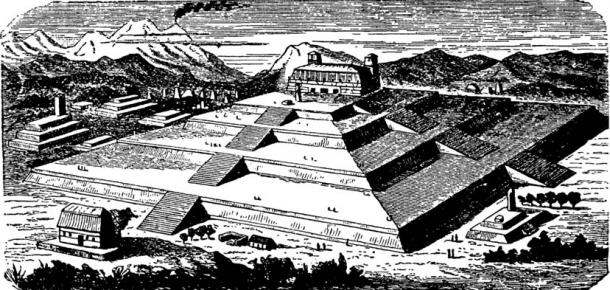 Could it be that the parallel myths throughout the world are actually the story of the same event in history? Here an artist's version of how the Great Pyramid of Cholula in Mexico looked originally
