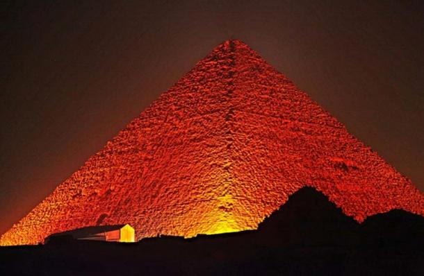 The Great Pyramid of Giza at night.