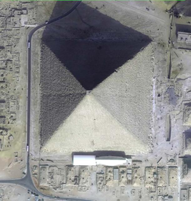 Figure 4. Satellite photo of the Great Pyramid of Giza showing that it is eight-sided.