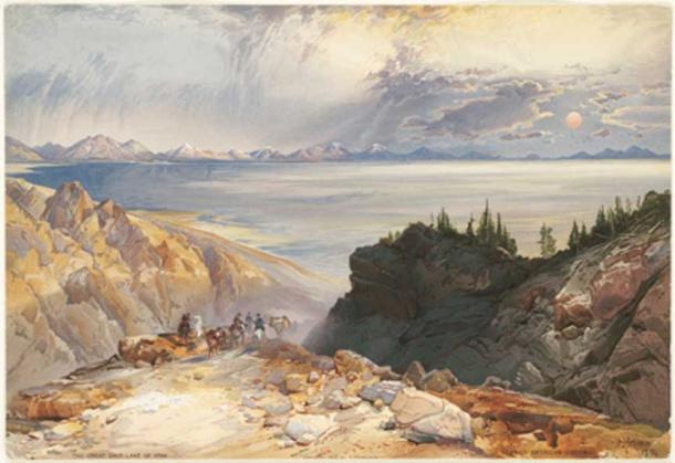 The Great Salt Lake of Utah, USA. 1875.