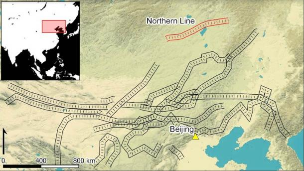 The Great Wall(s) of China, with the Northern Line highlighted (Image: Connor J. Sweetwood. Data from © Mapbox and © OpenStreetMap / Antiquity Publications Ltd)