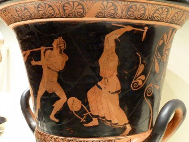 A Grecian mixing vessel of the 5th century BC shows the death of Orpheus at the hands of the bacchantes or Maenads.