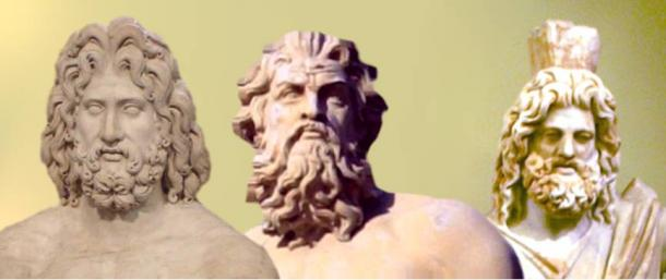 The Greek Trinity: Zeus, Poseidon and Hades -- gods of heavens, sea, and underworld.