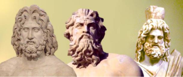 The Greek Trinity: Zeus, Poseidon and Hades -- gods of heavens, sea, and underworld.