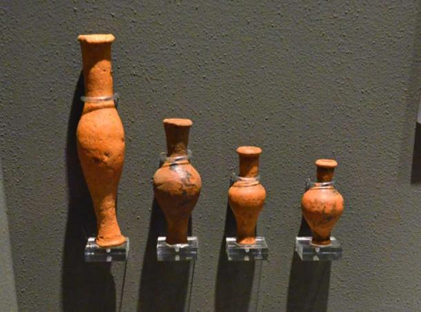 Greek ceramic unguentaria, lamp, and miniature vessel from Volimos, Dated to the Hellenistic period, 3rd c. BC