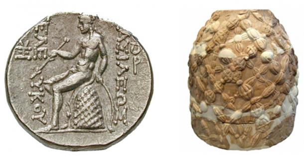 Figure 3. Left: A Greek coin of Seleucus III showing Apollo seated upon the sacred omphalos stone of Delphi. Right: This stone (or an ancient copy of this stone) still exists at Delphi. (Photo credit: Ralph Ellis.)