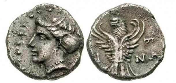 Greek coins like this one of Pontus have been found in the necropolis
