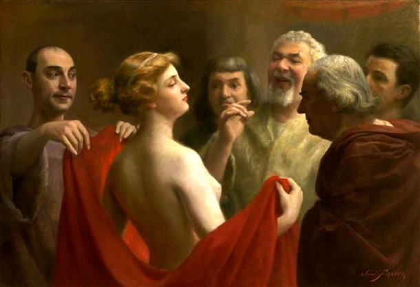The ancient Greek courtesan Phryne, by Jose Frappa, 1904.