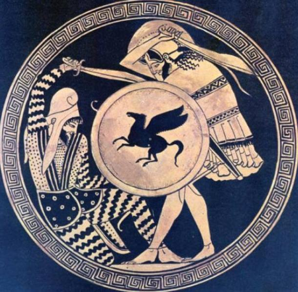 Greek hoplite and Persian warrior fighting each other. Depiction in ancient kylix. 5th c. B.C. National Archaeological Museum of Athens.
