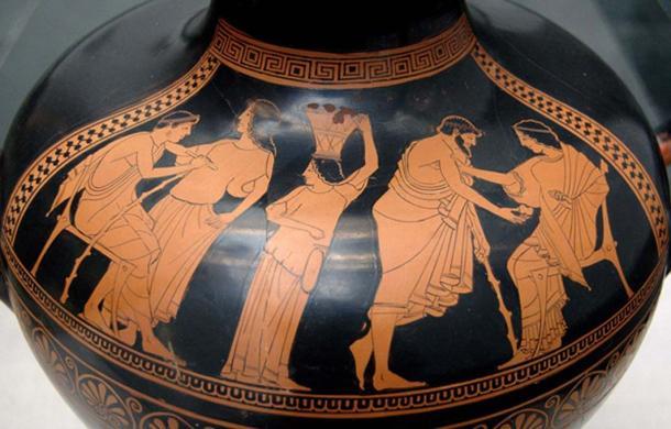 Ancient Greek jug design depicting social scene.