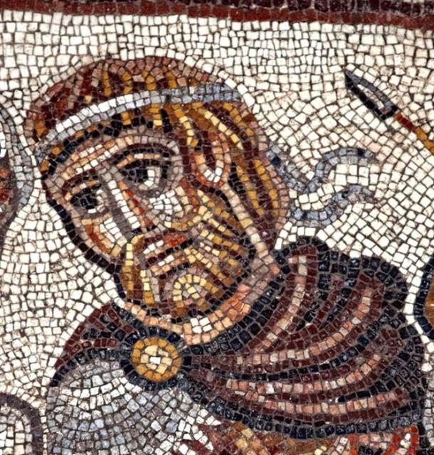 Head of a Greek military ruler, possibly Alexander of Macedon, in a mosaic that shows the only non-biblical scene known in an ancient synagogue.