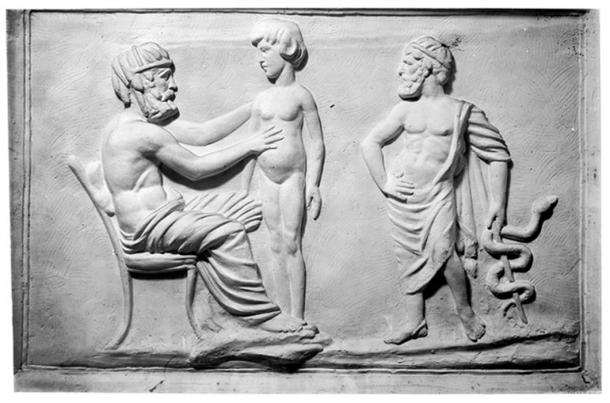 Greek physician and patient, plaster cast in W.H.M.M. (Wellcome Collection/CC BY 4.0)
