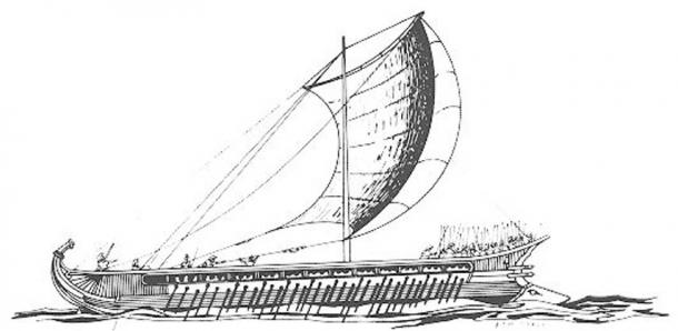 Greek trireme, drawing by F. Mitchell; note the battering ram on the prow to the right at the waterline.