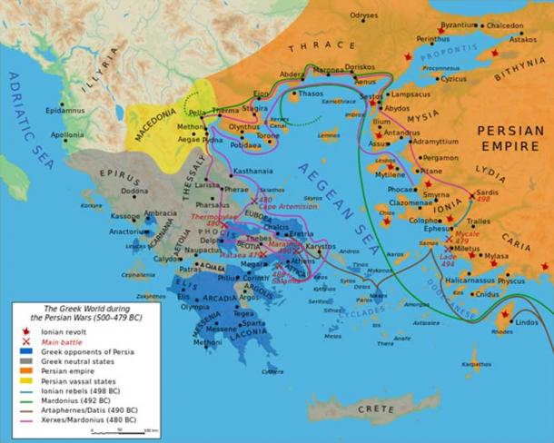 Map showing the Greek world during the Greco-Persian Wars (ca. 500–479 BC).