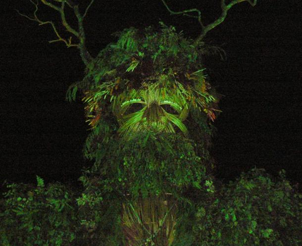 Sculpture of Green Man at festival.