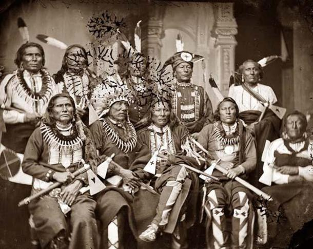 Group of Native American chiefs in 1865. According to the study, Northern and Southern American Indians split between 14000 and 17000 years ago.