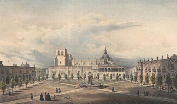 The Guadalajara Cathedral in 1836.
