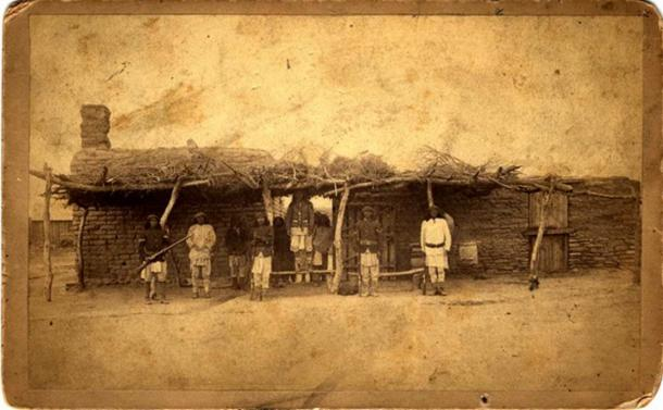 Guard House in San Carlos, Arizona circa 1880. Photograph by Camillus S. Fly.