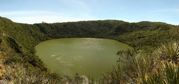 Guatavita Volcanic Lagoon, Cundinamarca, Colombia, the sacred lake and center of the rites of the Muiscas