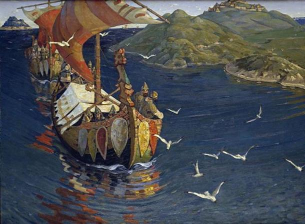 """Nicholas Roerich """"Guests from Overseas"""". From the series """"Beginnings of Rus'. The Slavs."""" 1901."""