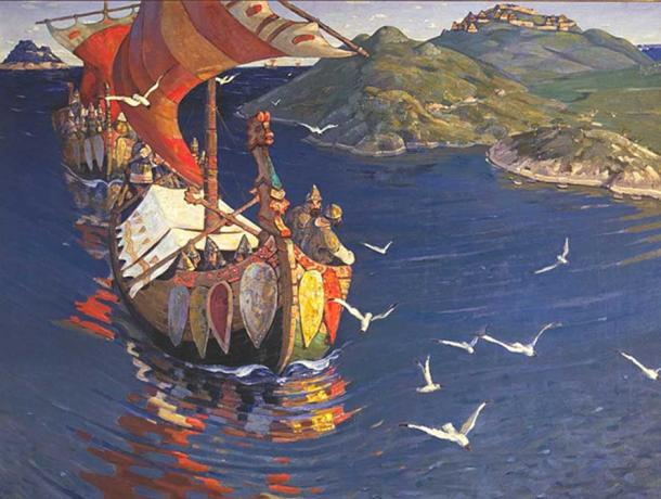Guests from Overseas, Nikolaj Roerich, 1901. (Public Domain)