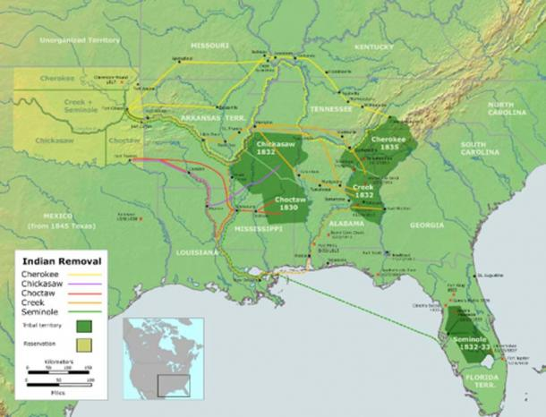 As you can see, there was more than one trail, and not all routes were over land. Some were by river, and the Seminole were taken west by sailing the Gulf of Mexico part way. (Public Domain)