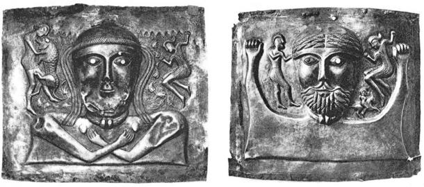 The female second chakra plate (left) and the male fourth chakra plate (right). (Author provided)