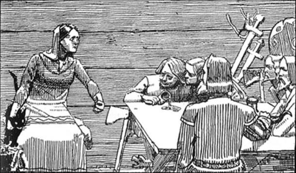 Gunhild and her sons. (Finn Bjorklid / Public Domain)