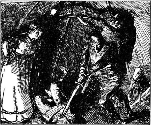 Gunnhild convinces Eric Bloodaxe to kill the Finnish wizards. From an 1890s illustration by Christian Krohg. (Public Domain)