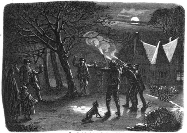Gunsmen scared off 'witches' by firing into the night. (Public Domain)