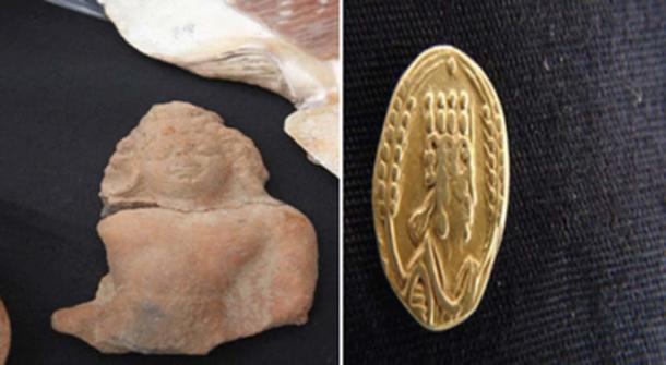 Gupta art (on left) and gold coin found at the Adulis site (Photo by Madote)