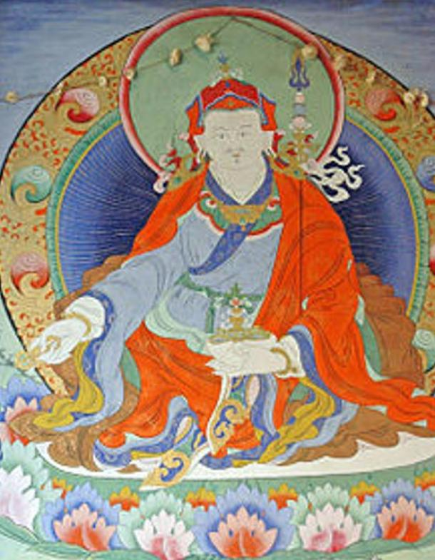 Guru Rinpoche wall painting on Paro Bridge, Paro Taktsang, Bhutan