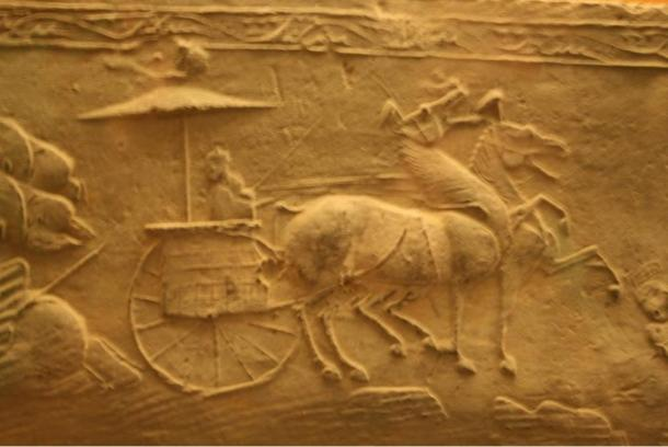 Little is known about the man or his people, possibly the Gushi culture, except they were fine horsemen and had a small state in the Turfan Basin. The photo is a relief from a Han Dynasty tomb.