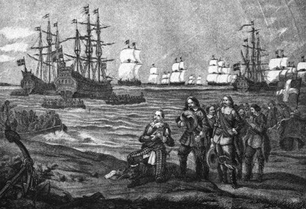 Gustavus Adolphus' landing in Pomerania, near Wolgast, 1630