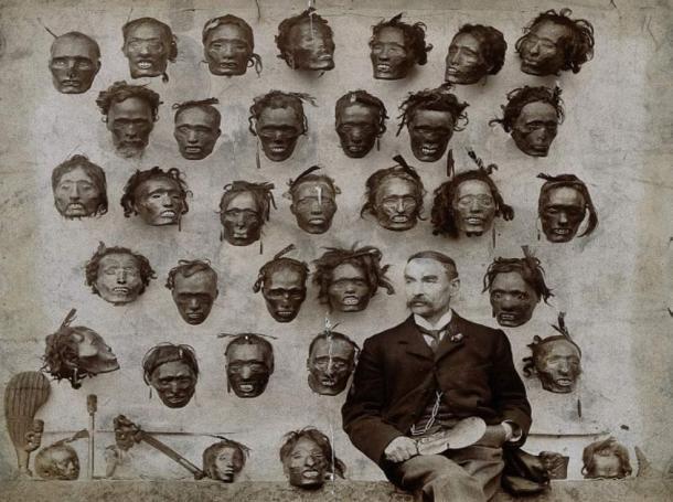 H. G. Robley and his mokomokai collection.