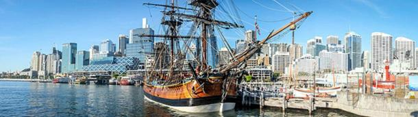 A replica of the HMS Endeavour in Sydney, Australia.