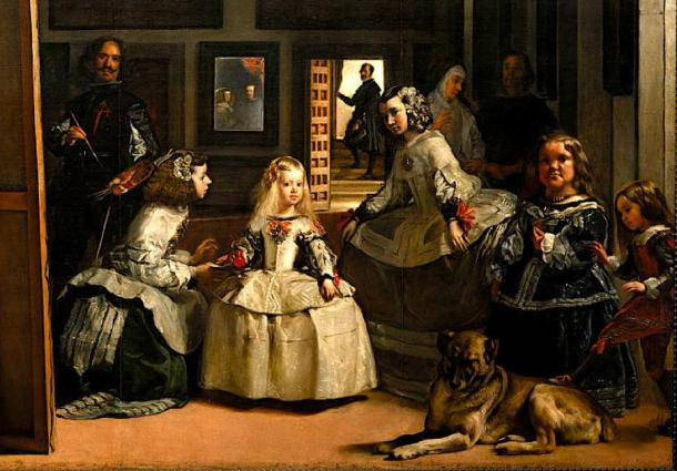 Habsburg family picture, shown Philip IV of Spain, Margaret Theresa of Spain, Diego Velázquez, and Mariana of Austria. (Dcoetzee / Public Domain)