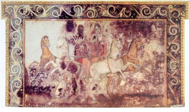 """Hades and Persephone, fresco in the tomb called """"Eurydice"""", Vergina, Greece. Colors on marble."""