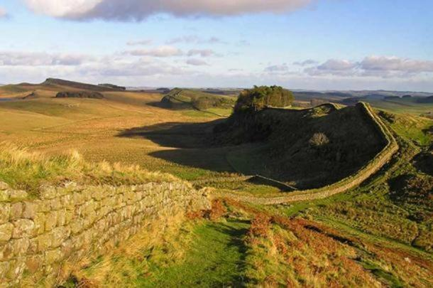 The view along Hadrian's Wall towards Housesteads Roman Fort.