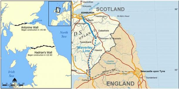 Hadrian's wall crosses the north of England, south of the border with Scotland, from Newcastle upon Tyne in the east to Carlisle in the west