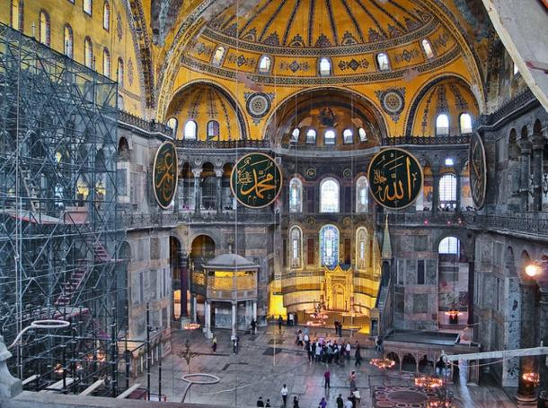 Visitors to the Hagia Sophia inside the church