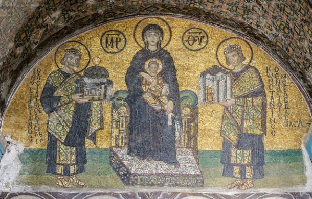 Hagia Sophia mosaic depicting the Virgin Mary holding the Christ child on her lap. On her right side stands Justinian, offering a model of the Hagia Sophia