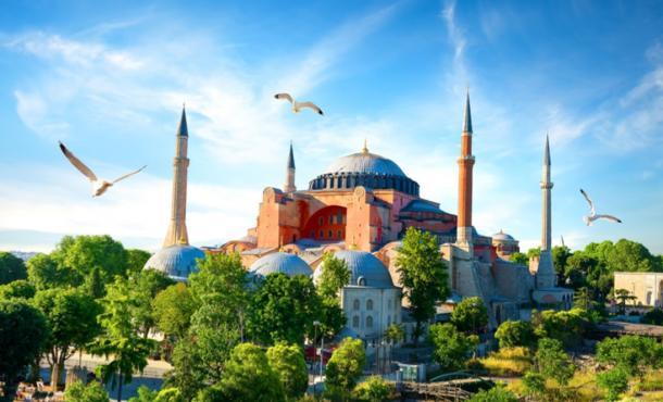 Hagia Sophia built by Emperor Constantine of the Byzantine Empire. Source: Givaga / Adobe Stock.