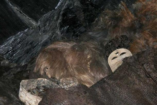 Hair and clothing found in the coffin of the Egtved Girl.