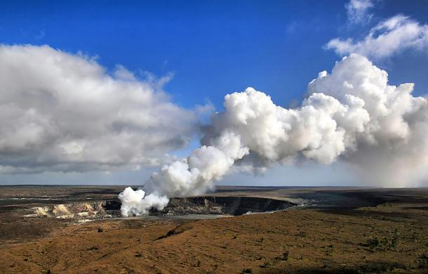 According to legend, Pele lives in the Halemaʻumaʻu crater Kīlauea.