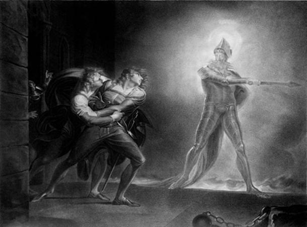 Hamlet, Horatio, Marcellus, and the Ghost, on the platform before the Palace of Elsinor. 1796