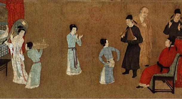Detail; Night Revels of Han Xizai, painting depicting ladies dancing and entertaining guests.