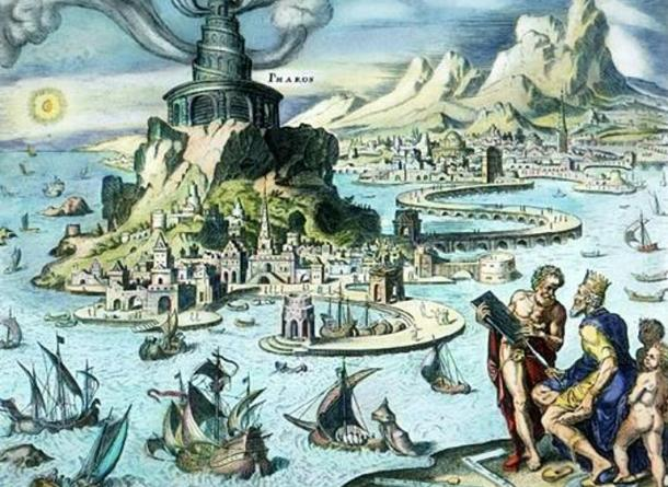 Hand-colored engraving of the Pharos of Alexandria by Maarten van Heemskerck (1498–1574).