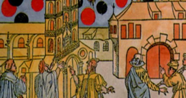 Hand-colored woodprint by Samuel Coccius, Basle Switzerland 1566. August 7th many black globes moved before the sun at great speed and seemed to be fighting. Was this an ancient UFO sighting or celestial event? (Public Domain)